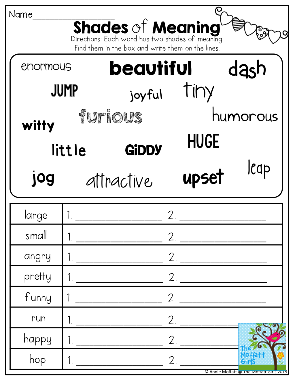 Shades Of Meaning Tons Of Other Great Printables 3rd Grade