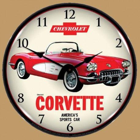 Horloge Lumineuse Retro Eclaire Chevrolet Corvette 1959 Chevrolet Corvette Wall Clock Light Corvette Clock