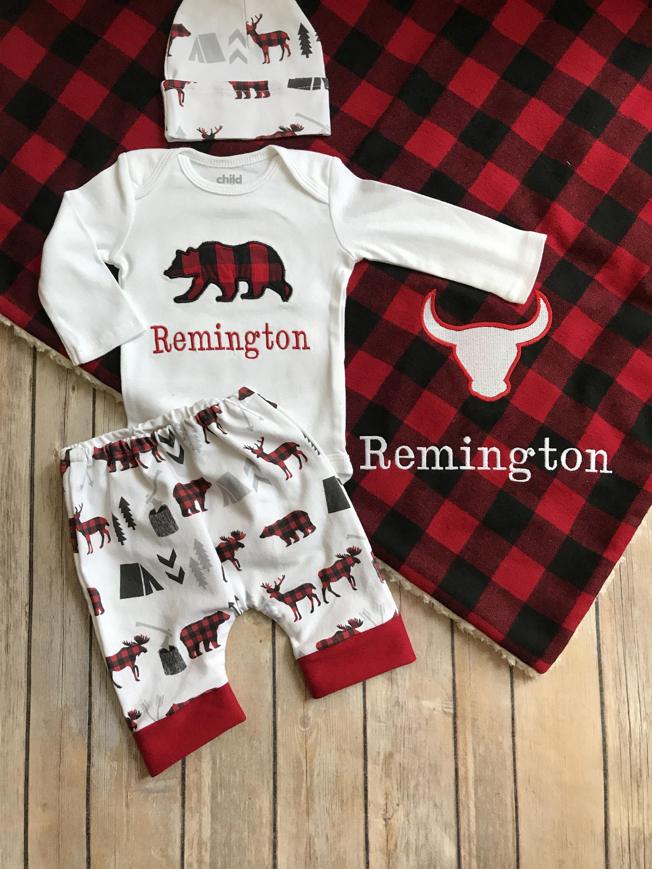 f65341c9 Baby Boy Coming Home Outfit Buffalo Plaid Red and Black Lumberjack  Personalized Bear Bodysuit Harem Leggings Pants by Flatoutfunky on Etsy