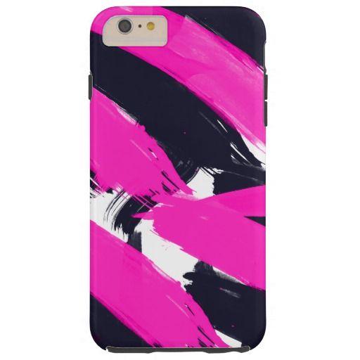 Modern Abstract Neon Pink Brush Strokes Pattern