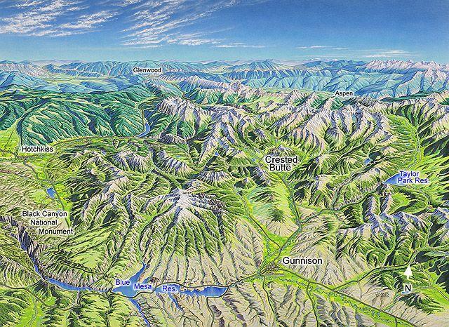 Crested Butte Gunnison Aspen James Niehues Map Artist Ski Maps Resort Maps Regional Maps Colorado Scenery Gunnison Gunnison Colorado