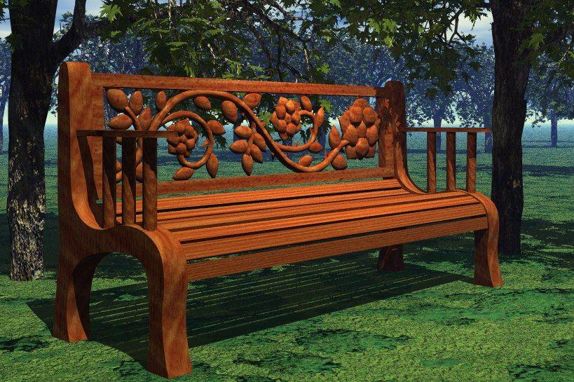 Rosebench1 300x199 Carved Rose Back Park Bench Free 3d Model Cnc