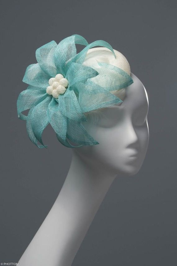cee1cd2b6f440 Louisa Romantic white and aqua fascinator with feathers AU$166.49 ...
