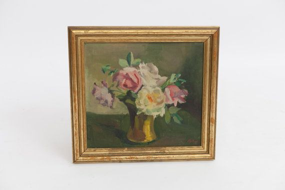 • Description • A beautiful display of soft muted colors in this floral still-life. An elegant golden frame holds this mid century impressionist style canvas. Please ask any questions before purchasing.    • Measurements • 14.5 W x 13.5 H   • Please Note •   Please ask any questions before purchasing items, all sales are final and sold as is good to excellent condition.