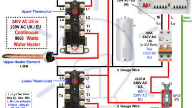 How To Wire 240v 230v Simultaneous Water Heater Thermostat Home Electrical Wiring Electrical Circuit Diagram Wire Installation