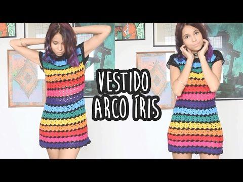 VESTIDO ARCO ÍRIS - Crochê (with english subtitles) - YouTube Marie Castro