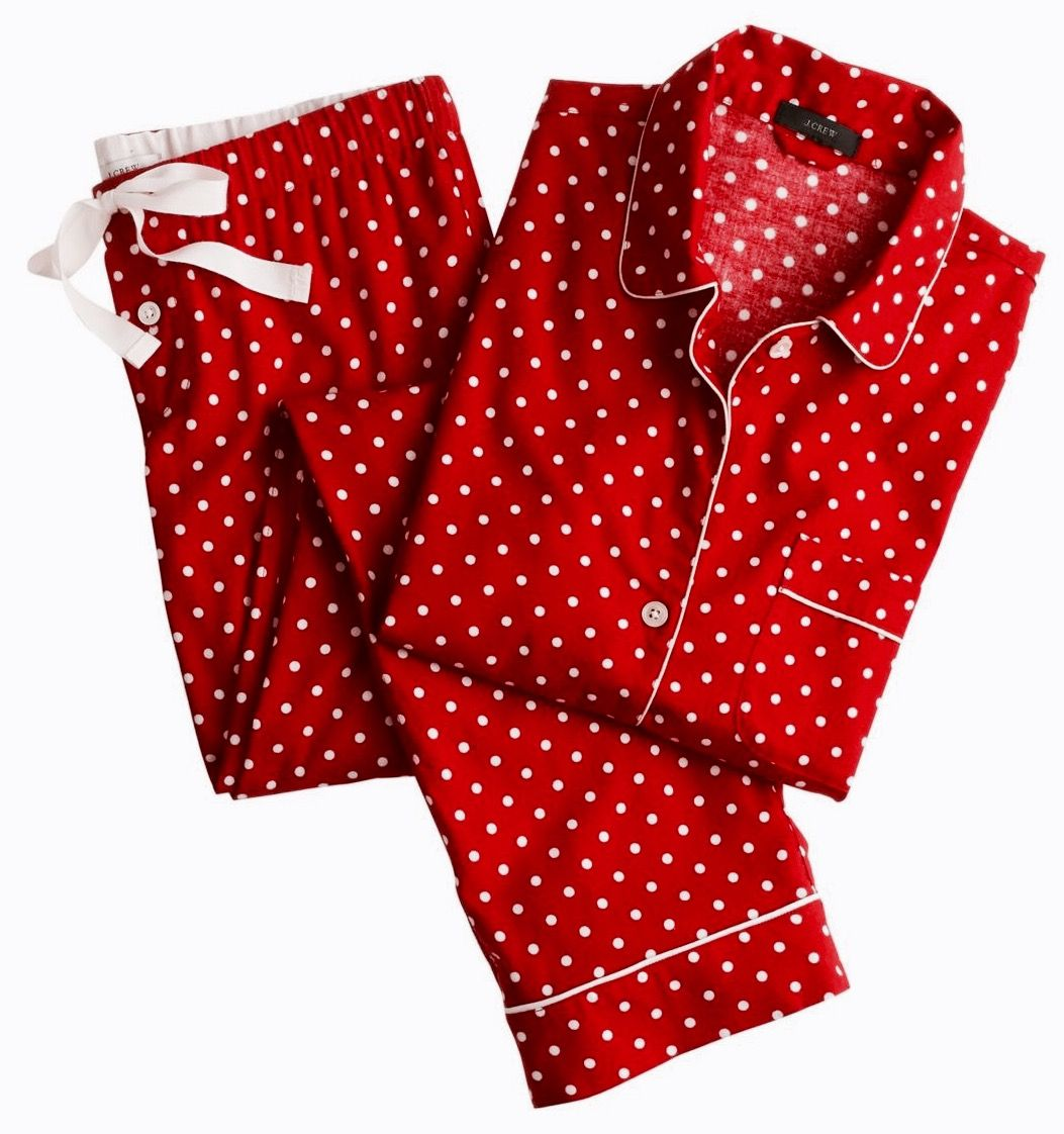 Red flannel pajamas  Red and white tiny polka dot pjs  Personal Clothing Items