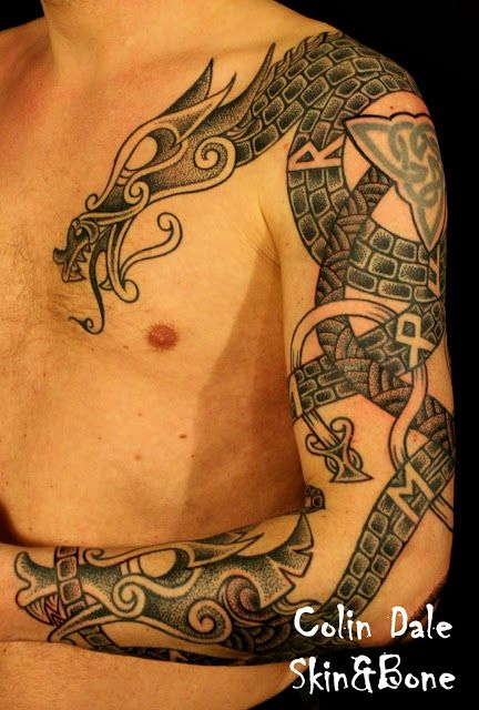 Skin Bone Artistic Process Viking Dragons Viking Dragon Tattoo Celtic Dragon Tattoos Viking Tattoos
