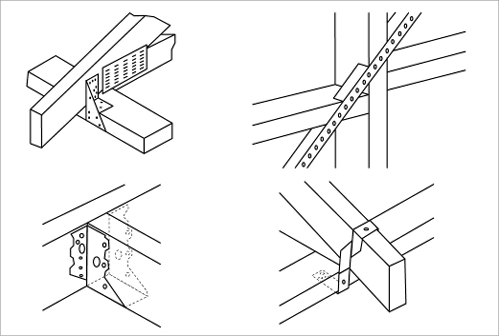 a diagram of four different timber joints using various on types of structural walls id=72650