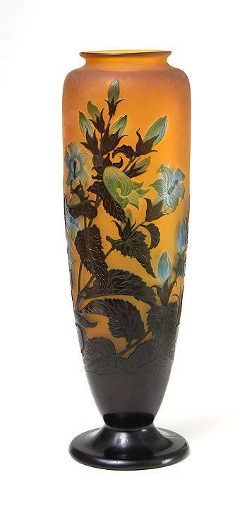 Gallé (Galle), Blue Floral Vase