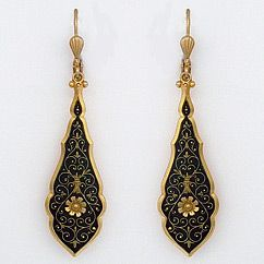 La Vie Parisienne earrings. Long narrow drop earrings in black enamel with gold scroll design. Vintage French with a bit of witch craft.