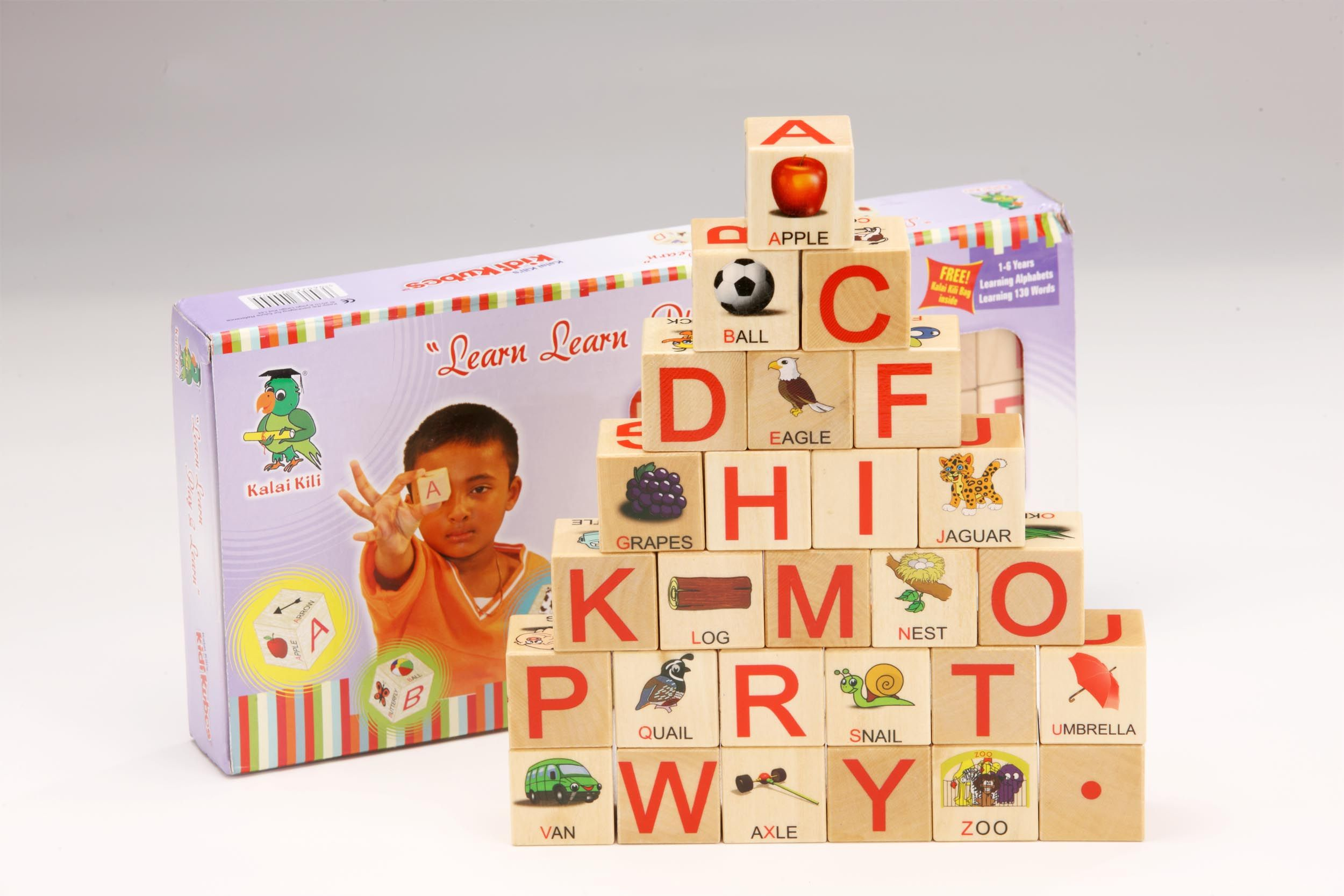 English Alphabet (Upper Case) wooden blocks beautifully crafted with high quality printing and child safety that will immediately attract a child. Parents will fall in love with these cubes! So smooth & colourful