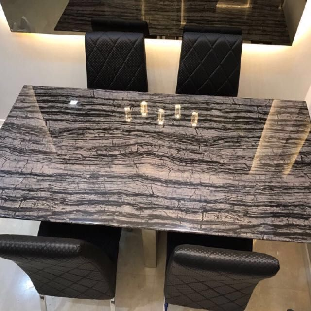 Elegant Marble Dining Table 1 6 M By 0 9 M With 4 Dining Chairs