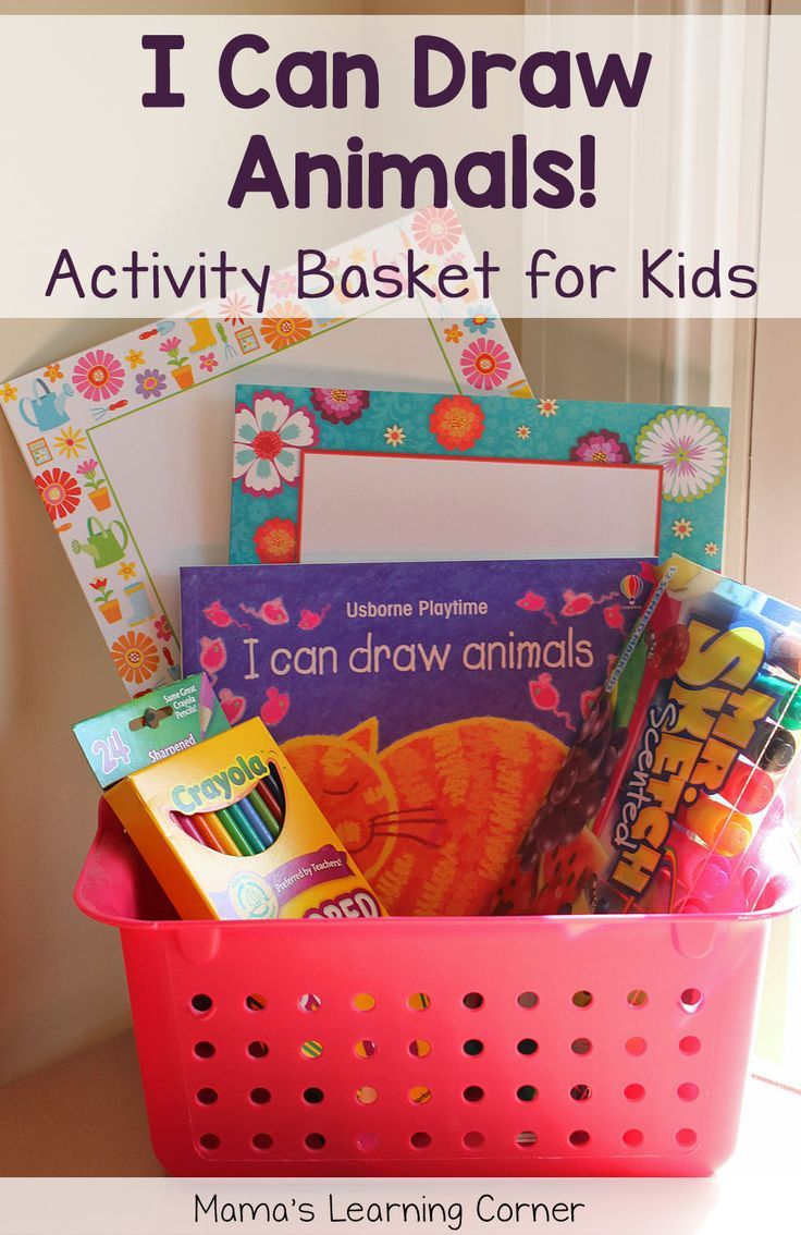 Activity Basket For Kids I Can Draw Animals Kids Gift Baskets Book Gift Basket Kids Art Gifts