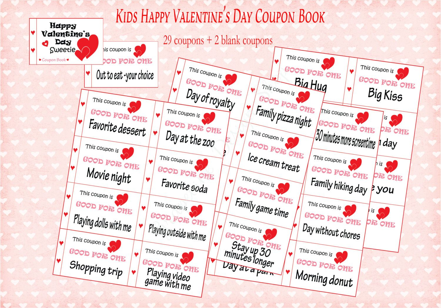 Happy Valentine\'s Day coupon book for kids. 31 coupons. Children\'s ...