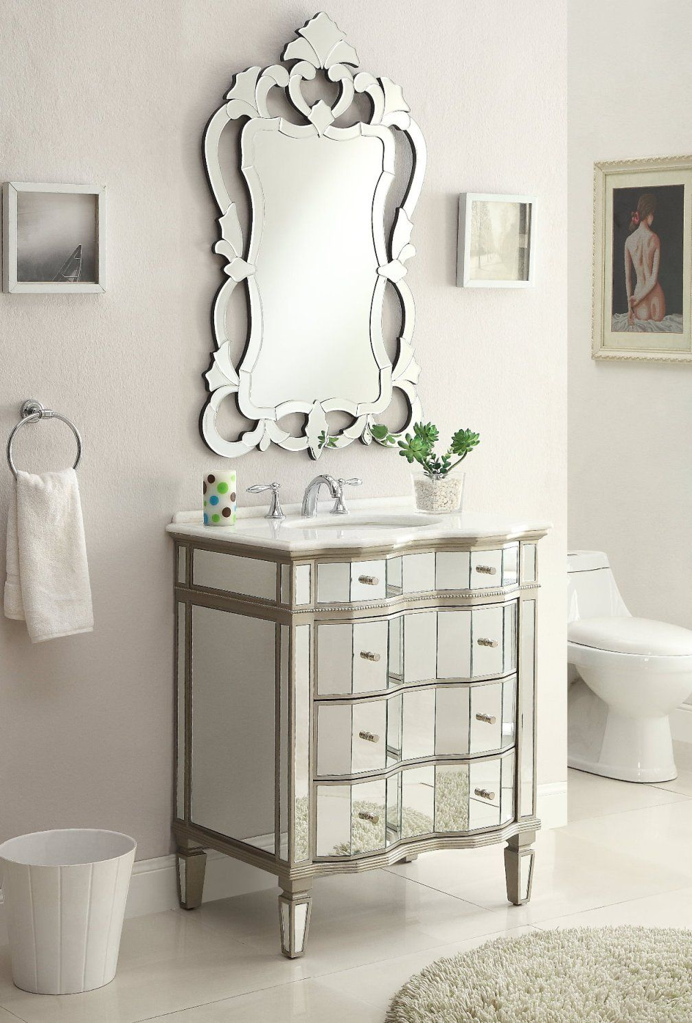 Adelina 30 inch Mirrored Bath Vanity Cabinet & Mirror | bathroom ...