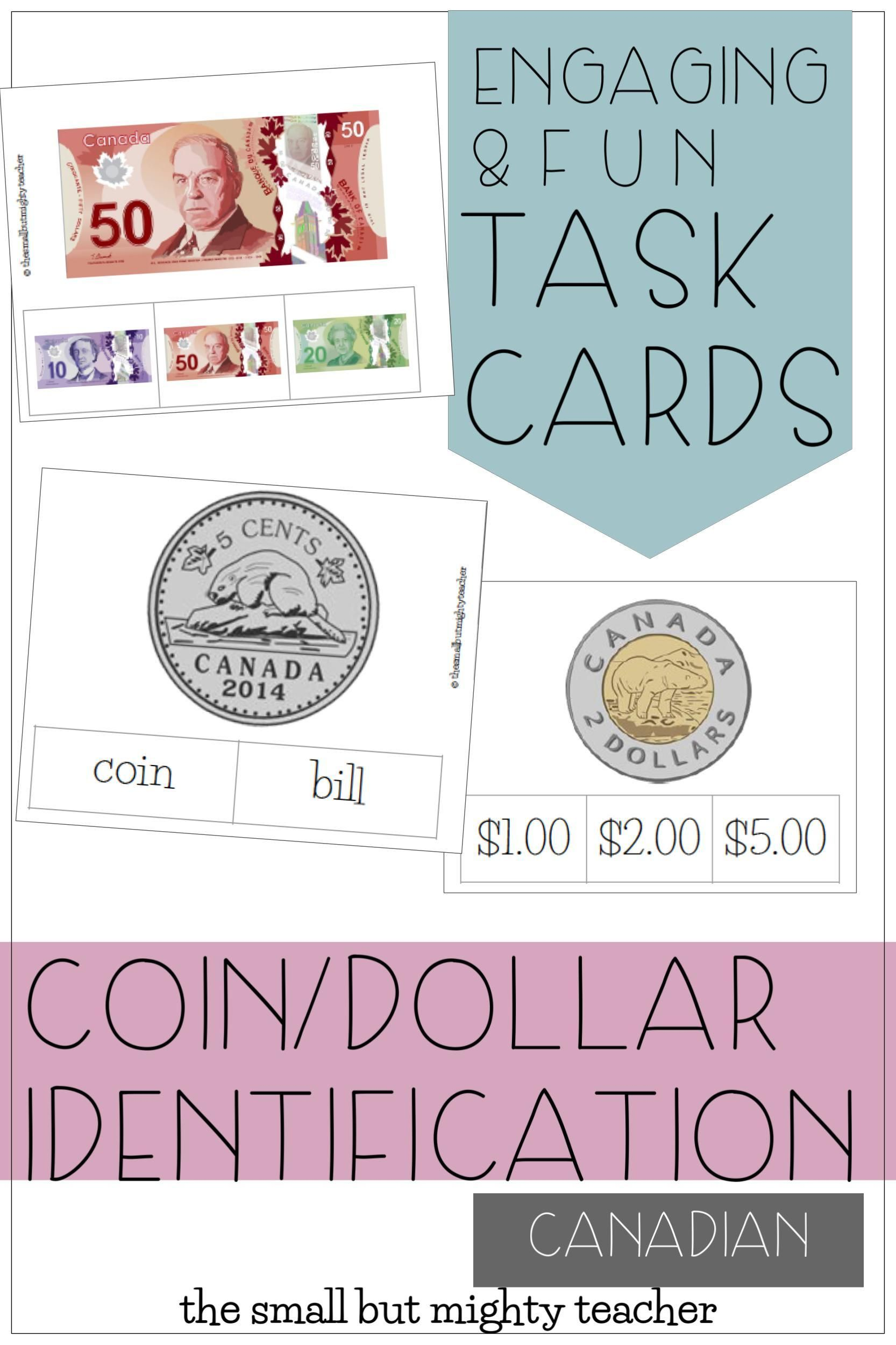 Dollar Coin Money Identification Canadian Money Task