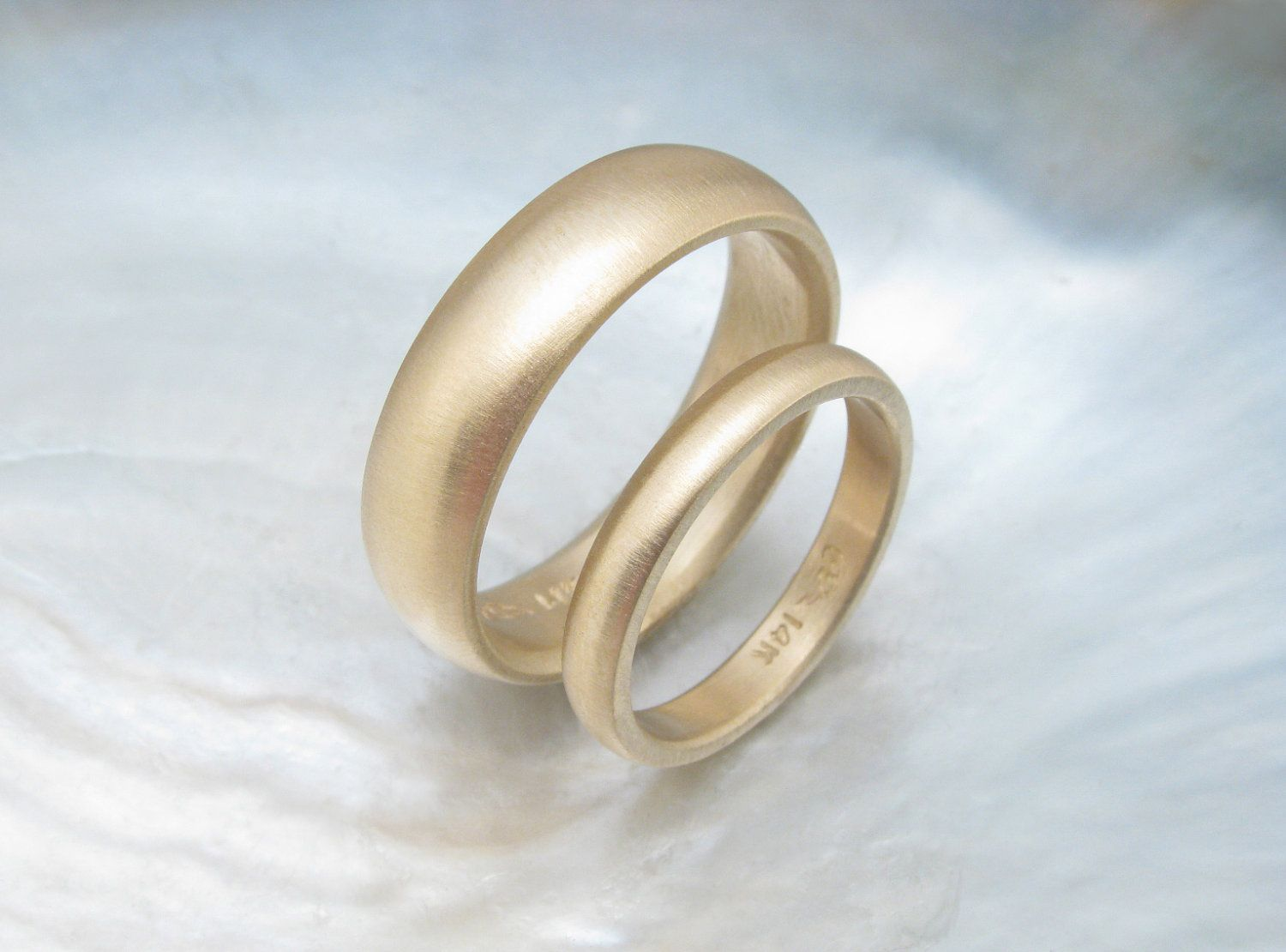 Traditional Gold Wedding Ring Set Simple Matching Low Dome Bands