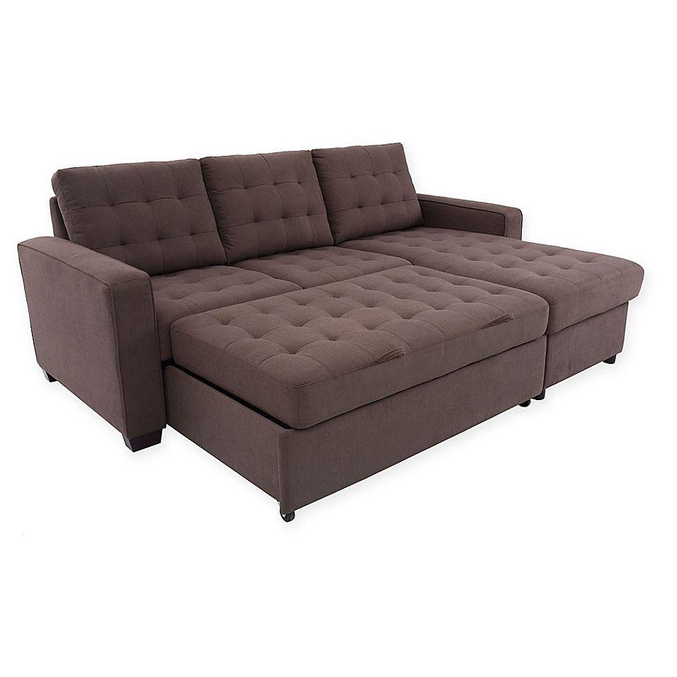 Serta Brenton Convertible Loveseat And Storage Chaise In Espresso Sofa Love Seat Futon Sofa