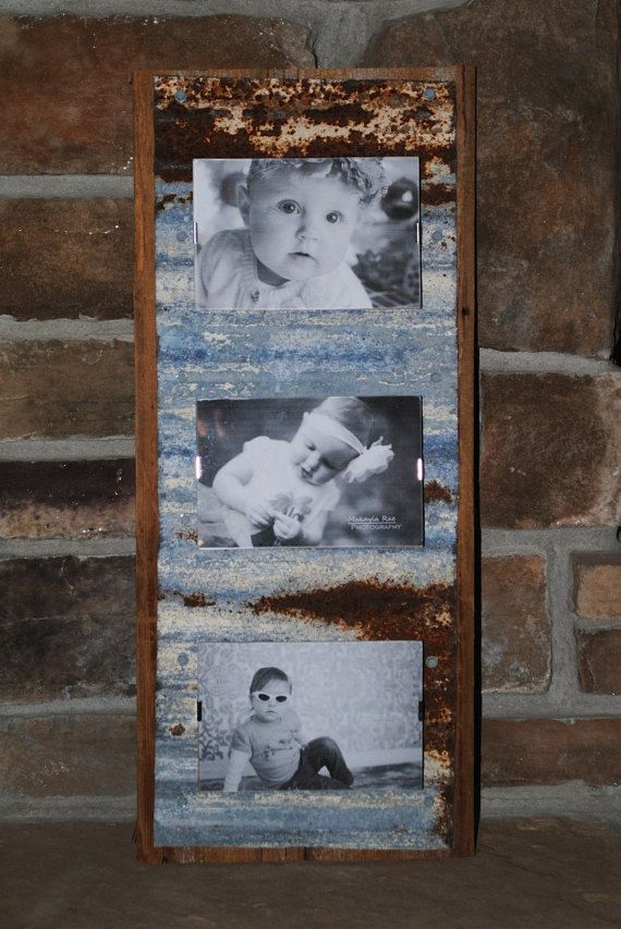3 Clip Frames attached to Corrugated Metal on Barnwood | ideas ...