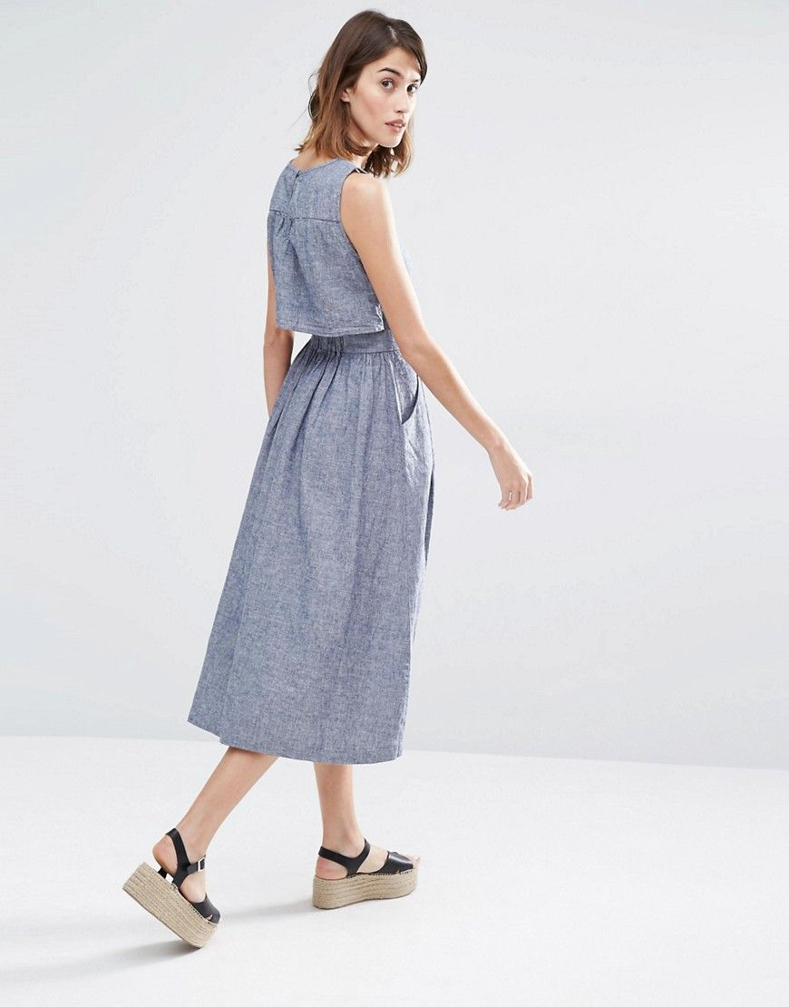 $80 Warehouse Open Back Linen Mix Midi Dress
