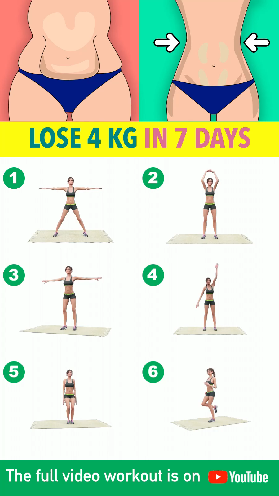 Losing as much as 4kg in one week can be tricky and honestly, quite challenging, but with a little push and discipline, you can definitely achieve that much! These full body exercises will help you burn overall body weight without the need to visit the gym or use any equipment. With just these body-weight routines I can guarantee you amazing results after 7 days! You can do this workout in splits spread throughout the day, or divided in two done twice a day to make it easier. Let's begin!❤️💪