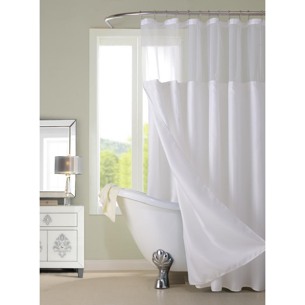 Dainty Home Complete 72 In White Shower Curtain Cscdlwh Hotel
