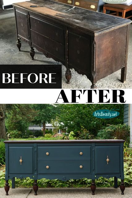 RESCUED ANTIQUE SIDEBOARD MAKEOVER
