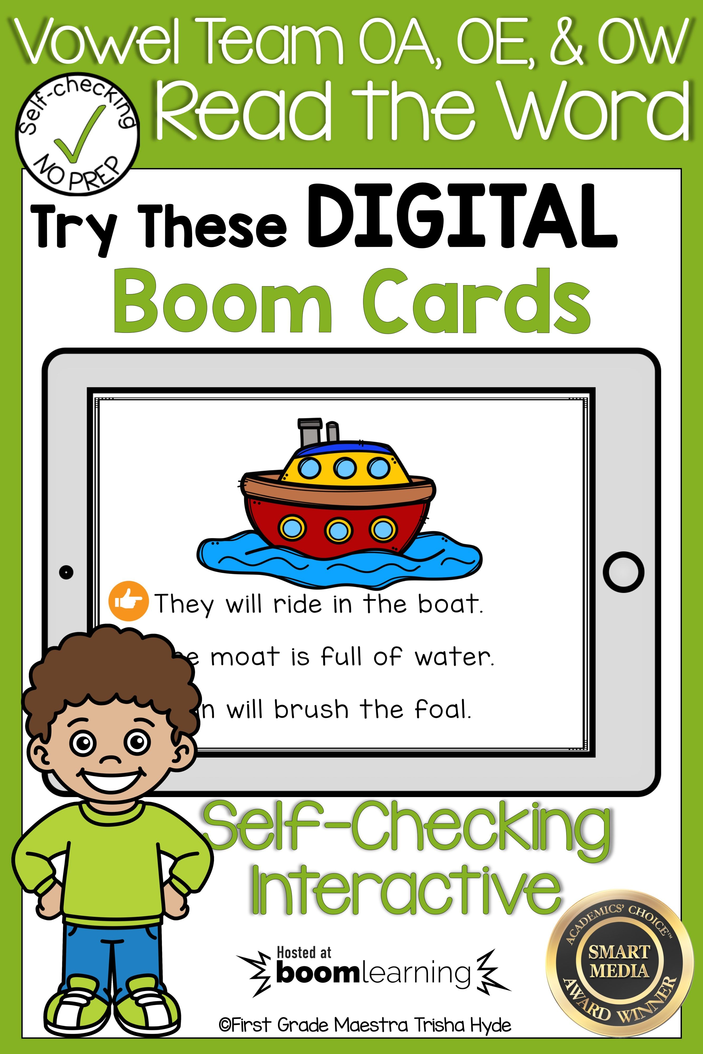 Boom Cards Vowel Team Oa Oe And Ow Read The Word With