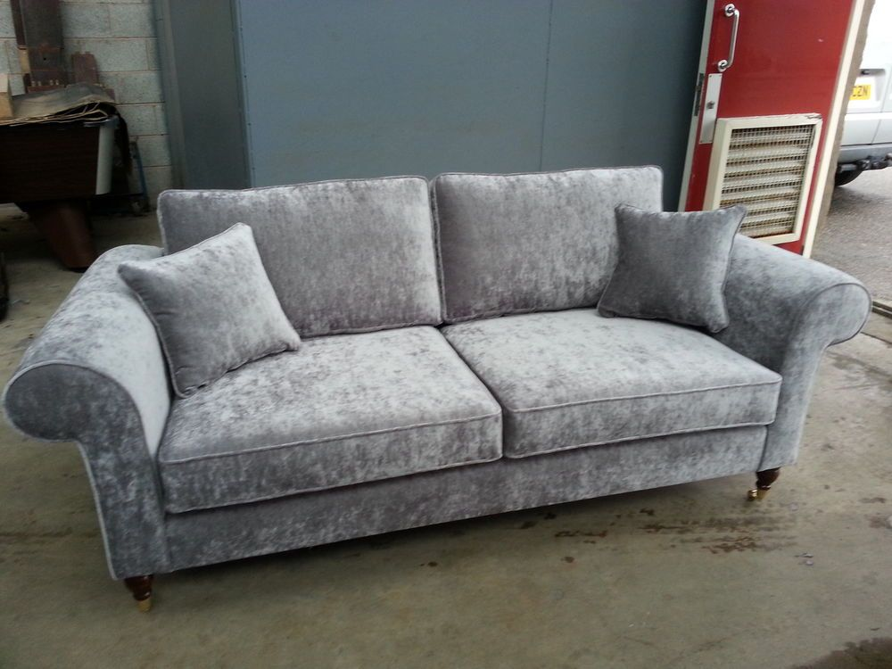 Details About Bespoke 3 Seater Sofa Settee Silver Grey Velvet