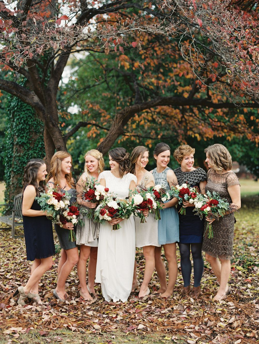 Autumn bridesmaid dresses in a variety of neutral greige and blue autumn bridesmaid dresses in a variety of neutral greige and blue hues brides dress by grace loves lace fall bouquets with deep red blooms by fern studio ombrellifo Choice Image