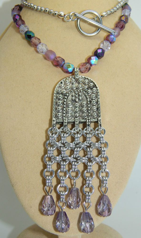 Hand-Made Chain Maille Pendant & Czech Glass Drops on Beaded Necklace in Jewellery & Watches | eBay