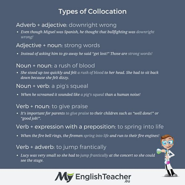Types Of Collocation Collocations Pinterest Adverbs