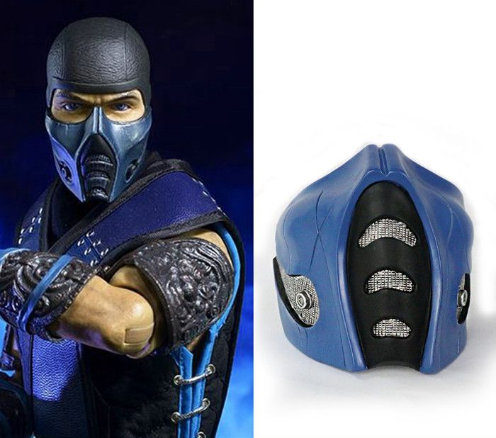 Click To Buy Cosplay Subzero Masks Game Mortal Kombat Blue Half