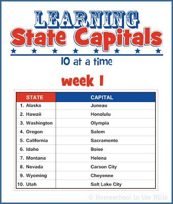 Learning State Capitals Free Printables Learning States Homeschool Homeschool Geography State and capitals worksheets