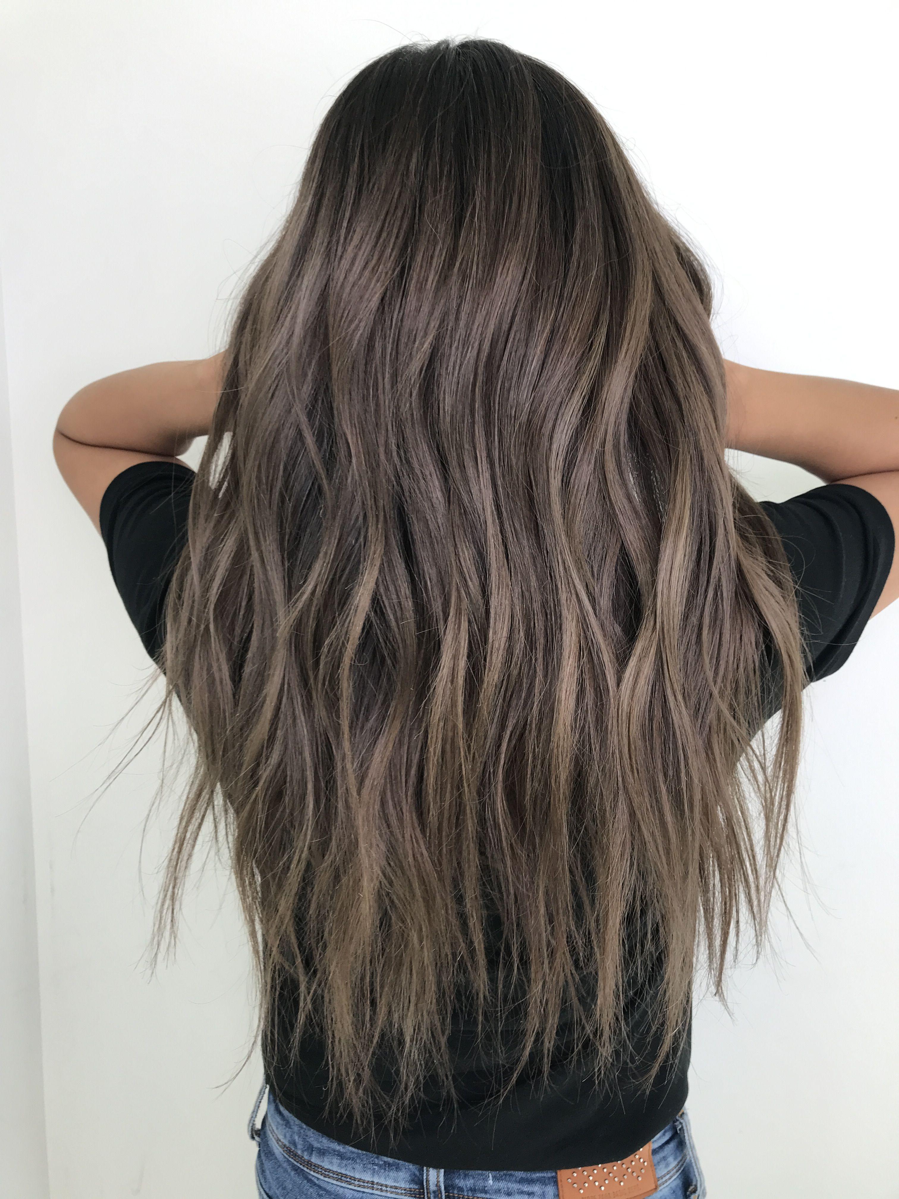 long ash brown hair with beach waves