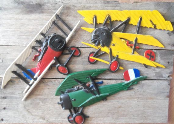 Vintage cast metal airplane set boy   wall by bettyrayvintage airplanewall decor also fabric decals of planes biplane rh pinterest