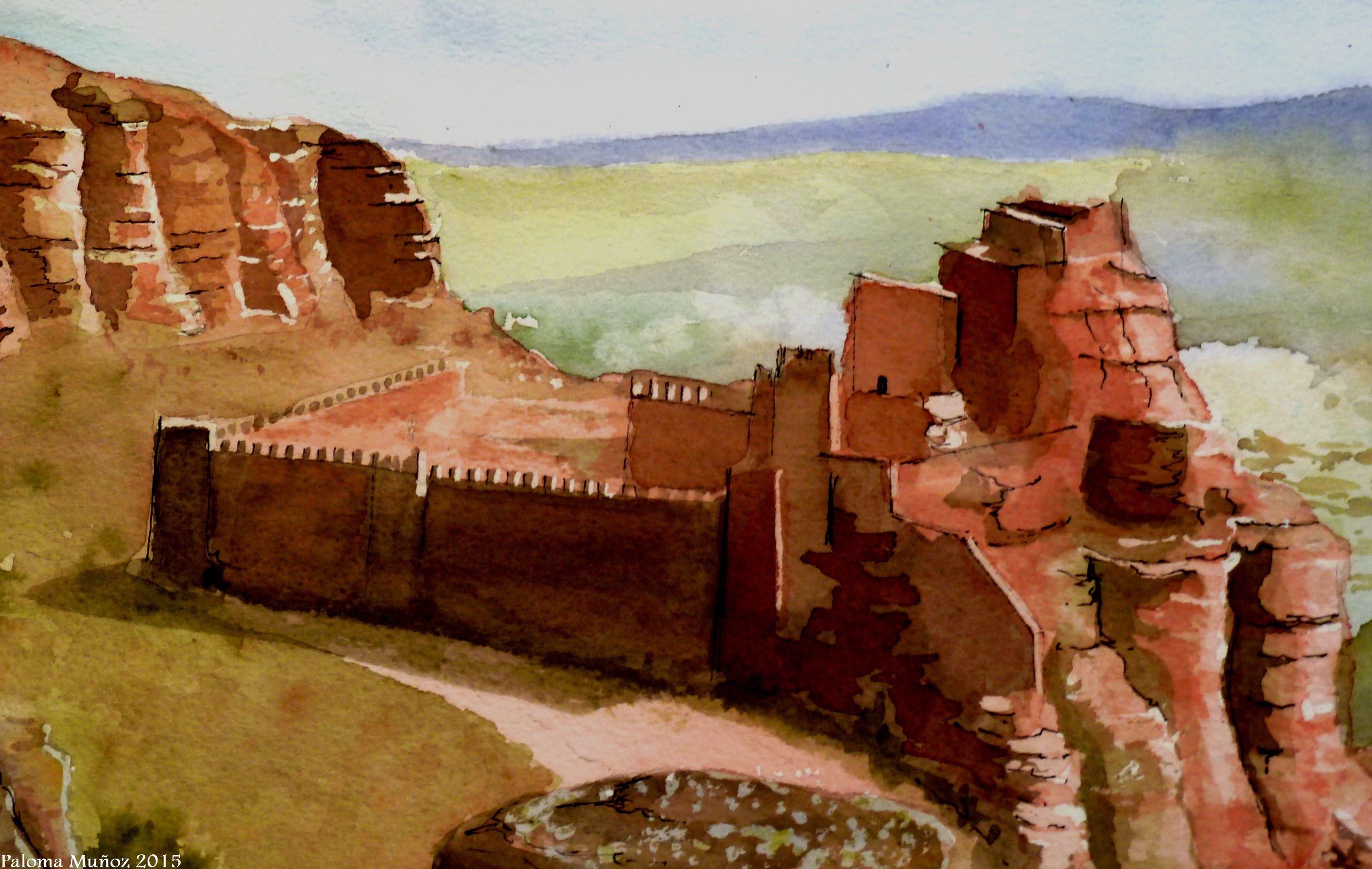 Acuarela Fortaleza de Paracense Teruel España Watercolor Fortress Paracense Teruel Spain