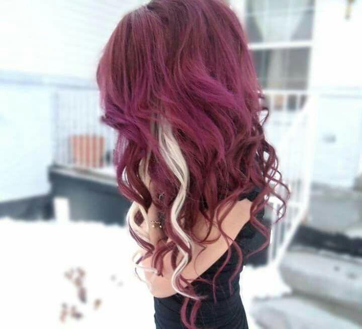 Red Hair With Blonde Streak Hair Color Burgundy Burgundy Hair