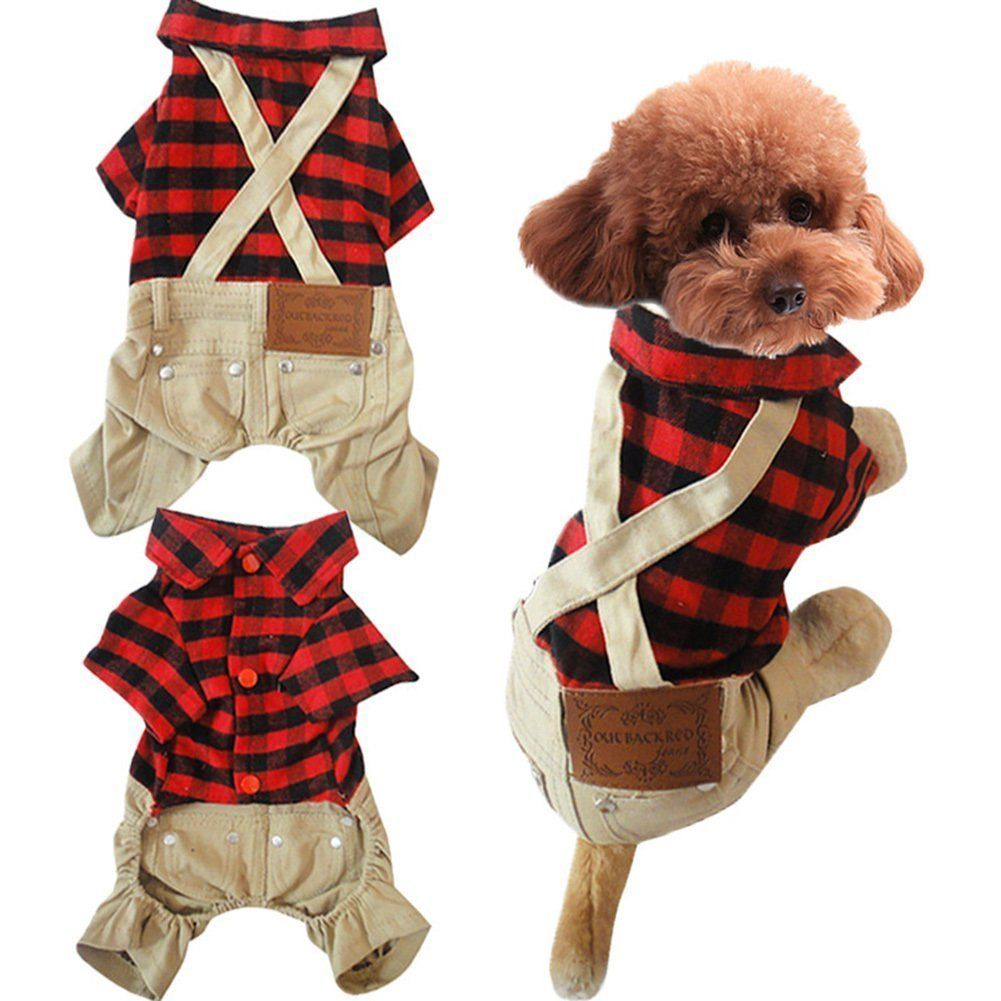 Gollyking Dog Jumpsuit Overalls Costume Cotton Plaid Shirt