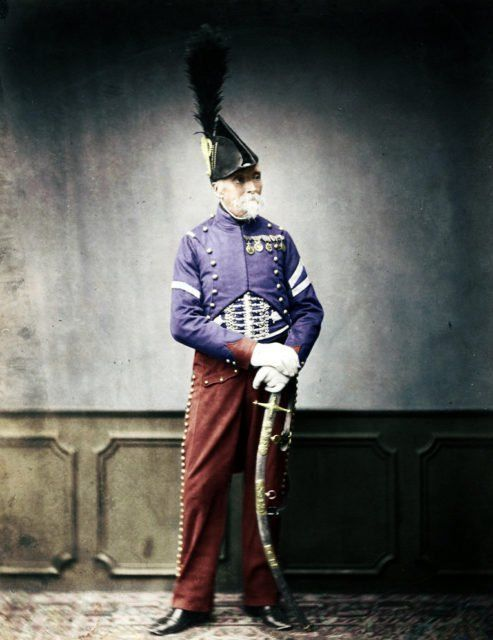 Monsieur Dupont, Fourier for the 1st Hussa in the Napoleonic Wars. Photographed ca. 1845-1860. Colorized by Matt Loughrey.
