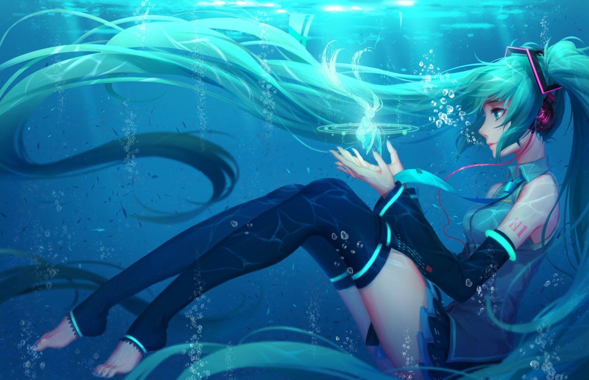 Anime Vocaloid Hatsune Miku Long Hair Twintails Aqua Hair