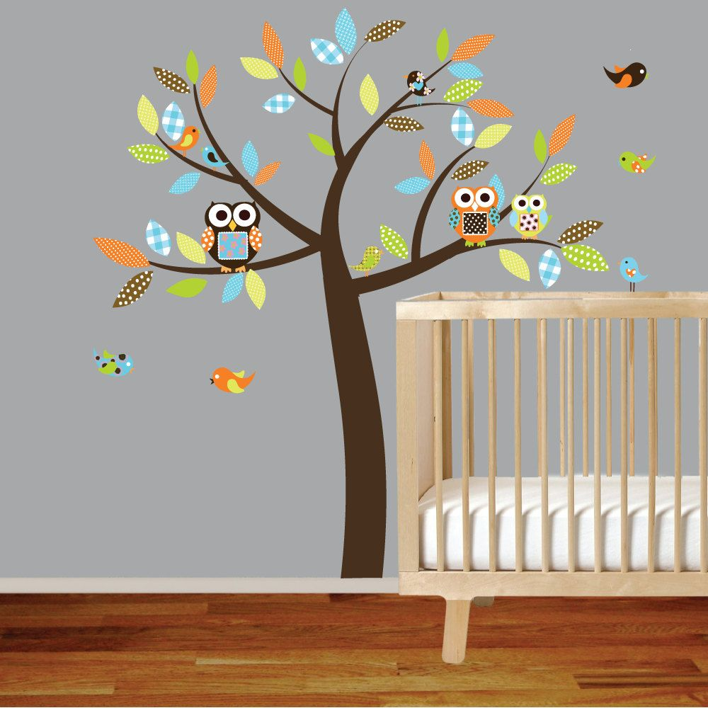 Wall Decals Vinyl Decal Stickers Owl Tree Set Nursery Boy Baby Textured