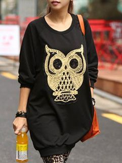 Black owl print dress