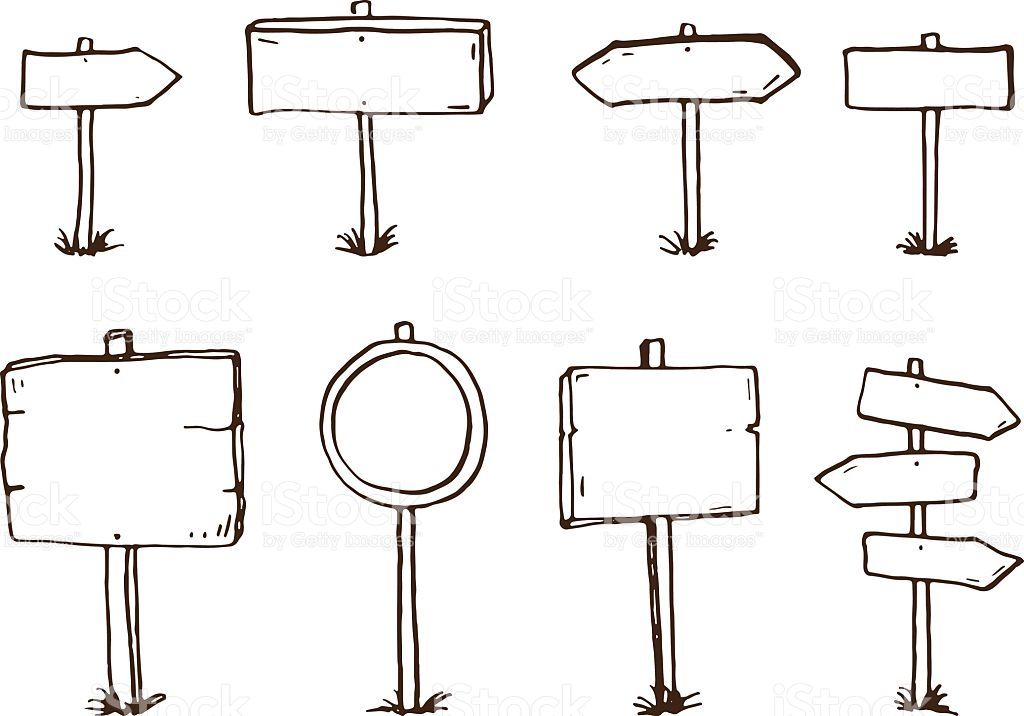 Hand drawn doodle wood signs and arrows