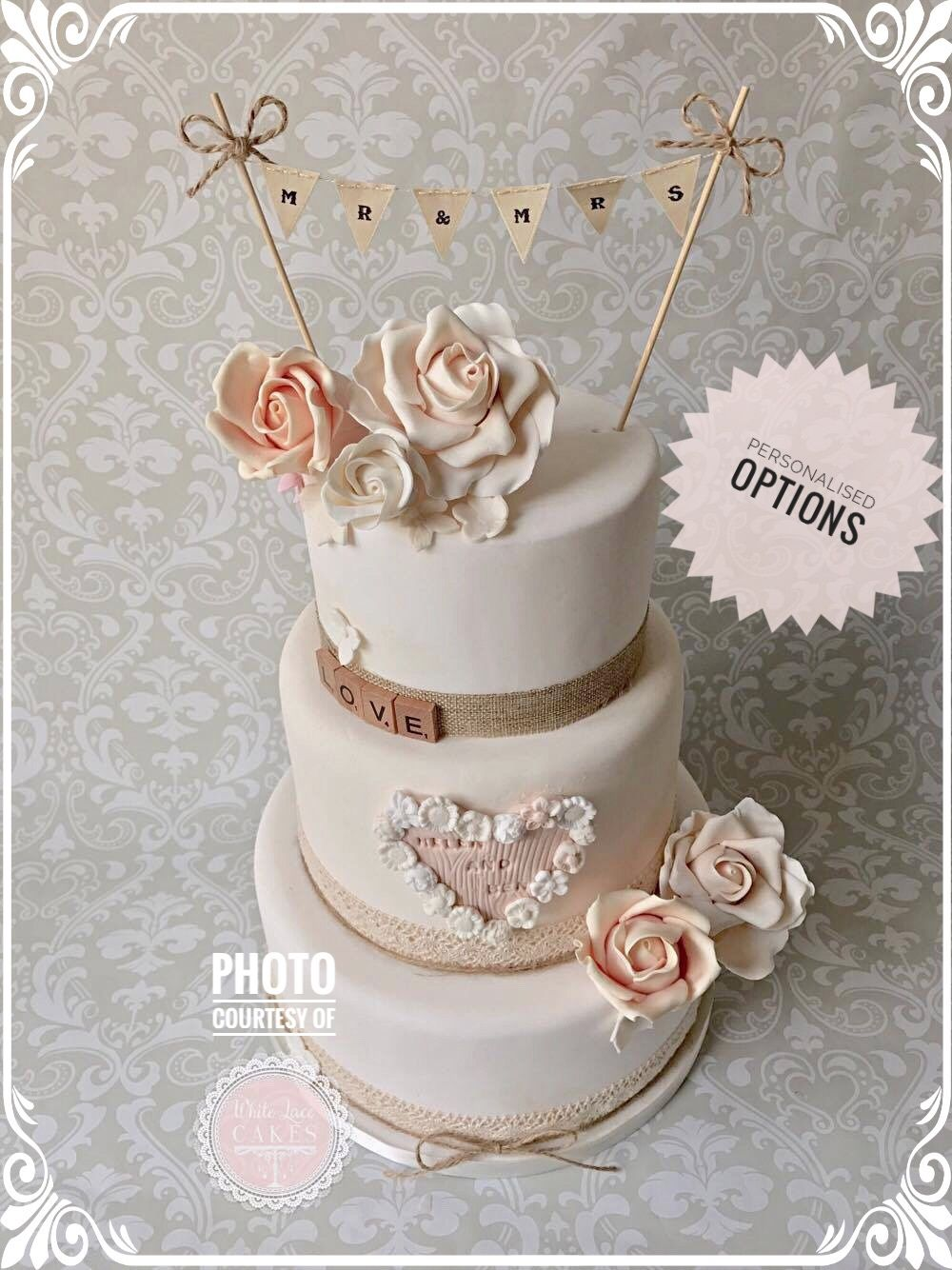 Details About Mr And Mrs Hessian Cake Topper Bunting Twine Bows