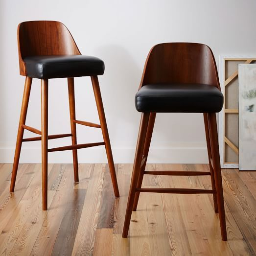 Bentwood Leather Bar + Counter Stools | west elm | d e s i ...