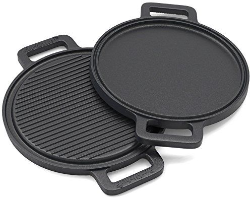 Cast Iron Pizza Griddle And Grill Pan W Reinforced Handles 13 5 Inch Perfect For Use On An Electric Gas Or Induction Stovetop Bbq Oven
