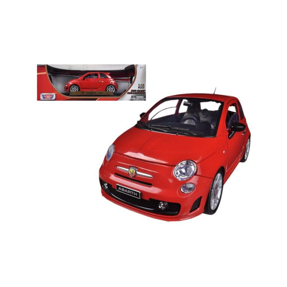 Brand new 1/18 scale diecast car model of Fiat 500 Abarth Red die cast model car by Motormax.Brand new box.Real rubber tires.Opening hood, doors and trunk.Made of diecast with some plastic parts.Detailed interior, exterior, engine compartment.Dimensions approximately L-8, W-3.5, H-3,5 inches.Please note that manufacturer may change packing box at anytime. Product will stay exactly the same.