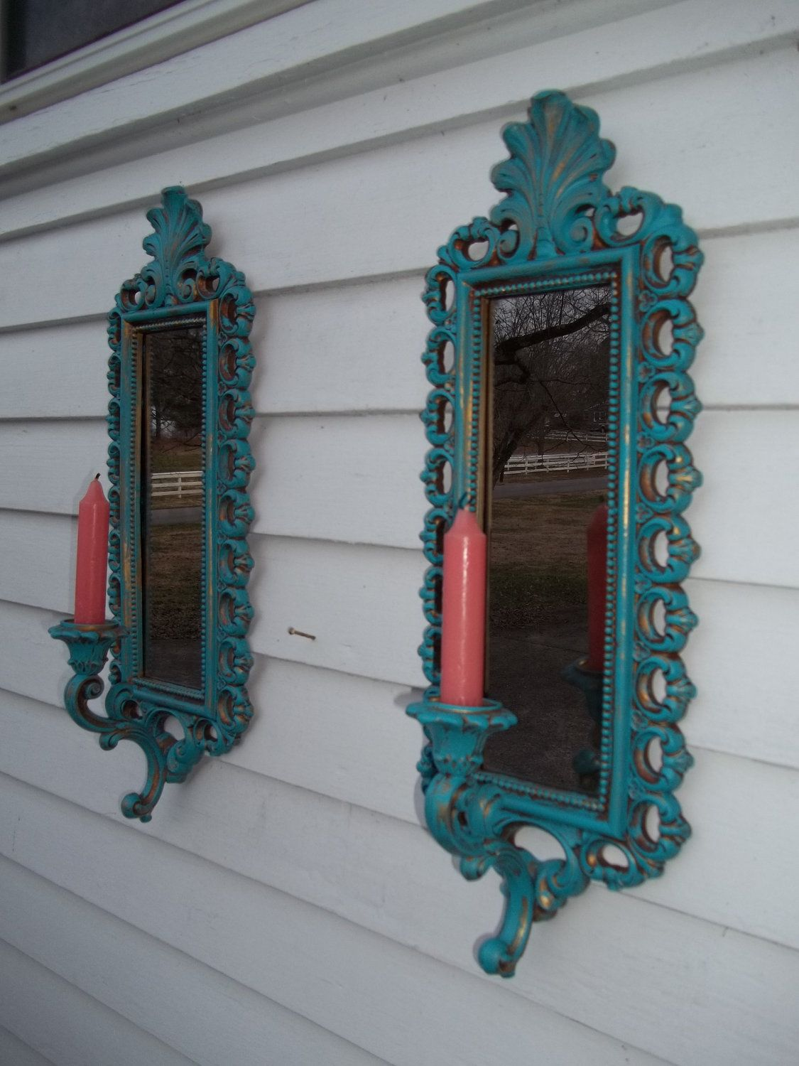 Smokey Blue Bedroom: Vintage Set Of Peacock Blue Ornate Candle Sconces With A